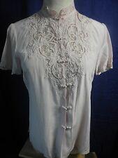 VtG DA FUI GUI Chinese Hand Embroidered PINK 100% PURE SILK Blouse Shirt 34