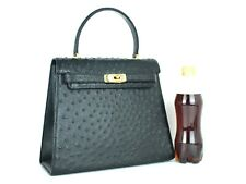 Genuine Ostrich Black Leather Hand Bag Accessories Bag Purse Women Used