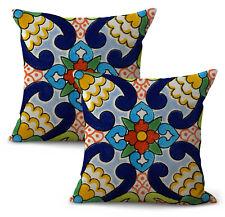 Us Seller- set of 2 decorative cushions Mexican Spanish talavera cushion cover