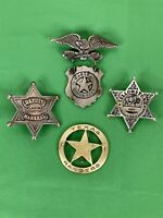 lot of 4 Vintage Replica Collectible Sheriff Deputy Marshall Badges- Dodge City