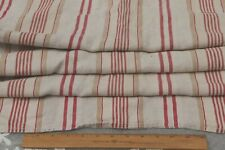 """Antique French Red & Tan Linen Ticking Stripe Fabric~L-49"""" X W-49"""""""