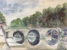Aquarelle pont du Cange Amiens France 1946 signée L. Donnelle ?