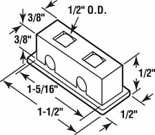 """CRL G3119 1/2"""" Flat Edge Tandem Brass Window Roller Assembly, 9/16"""" Wide Housing"""