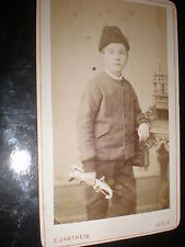 Cdv old photograph boy pistol gun by Gartheis Locle Switzerland c1880s