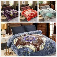 Blue Red Floral Mink Blanket Soft Warm Floral Fleece Queen King Winter Blankets