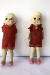 """Antique China Head Japan Bisque Doll Porcelain Wire Jointed With Cloth Dress""""F15"""