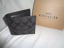COACH 75006 MENS COIN SIGNATURE PVC BIFOLD BILLFOLD CHARCOAL BLACK WALLET