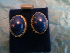 Vintage AVIGAD Sample Earrings Genuine Lapis Stones Gold Plated Classic Setting
