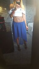 LADIES WOMENS CHIFFON GYPSY, LONG ASIMETRIC JERSEY MAXI SKIRT ELASTIC WAIST Uk12