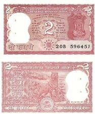 INDIA 2 Rupees Banknote World Paper Money aUNC Currency Pick p53Ad Tiger Bill SH