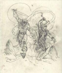Captain America and Thor BARSOOM PRELIM SKETCHES by Bo Hampton
