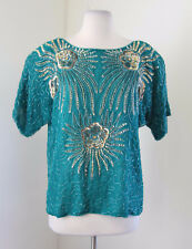 Vtg Teal Silk Beaded Sequin Evening Blouse Size S Retro Short Sleeve Floral