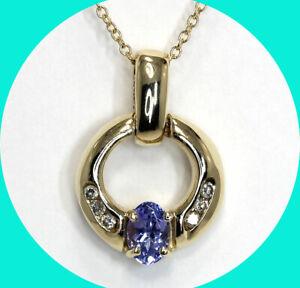 """60CT diamond tanzanite door knocker pendant necklace 14K YG oval round 18"""""""