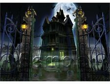 HALLOWEEN HAUNTED HOUSE WICCA GARGOYLES CEMETERY HEAD STONES CANVAS ART PRINT