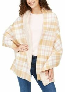 Charter Club Reversible Houndstooth Plaid Wrap Scarf Pink/White/Camel New #71