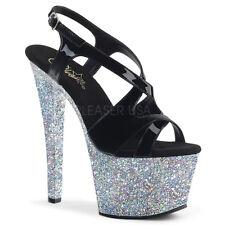AU STOCK Pleaser Sky-330LG Black Strap Silver Glitter Dancer Platform Heels US9