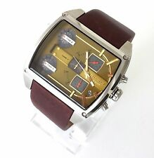 Original Diesel Herren Uhr Mothership Chronograph 3 Zeitzonen braun Leder DZ7327