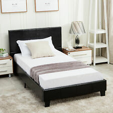 Twin Size Bed Frame Platform & Slats Faux Leather Upholstered Headboard Bedroom
