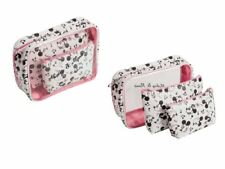 DISNEY Mickey Mouse 3 bag bath hanging travel pouch case set white and pink