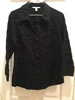 JM Collection Black Texture V-neck Button down Blouse Top Size 12 3/4 Sleeves!