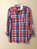 New RALPH LAUREN Women's Rimnah Long Sleeve Button-Down Shirt Cotton Red M $89