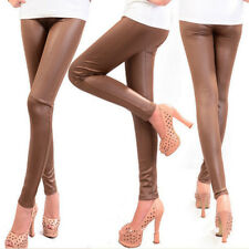 Women Faux Leather High Waist Stretch Leggings Skinny Pants Trousers Plus Size