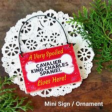 DecoWords Wood Ornament Mini Sign Cavalier King Charles Spaniel Dog Decor Gift