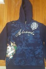 AKADEMIKS Sport Men's Top Sweater Long Sleeve zip Blue Hoodie Size XL Cotton