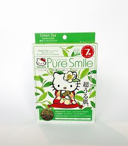 Hello Kitty Pure Smile Green Tea Essence Facial Mask -A box of 7 Sheet