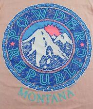 NOS Vintage 1990 POWDER REPUBLIC MONTANA Vacation Souvenir SS T Shirt Size S