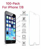 100x Wholesale Bulk Lot Tempered Glass Screen Protector for Apple iPhone 7/8 4.7