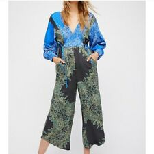 FREE PEOPLE Blue Blooming Fields Paisley Cotton Long Sleeve Boho Jumpsuit