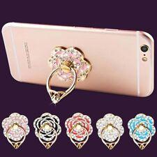 1X 360° Doigt Anneau Bague Support Fleur Crystal Pr Téléphone Portable Tablette