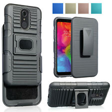 Rugged Armor Stand Holster Hard Case Hybrid Belt Clip Cover For LG Q7/Plus/Alpha