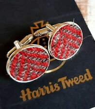 Silver Casing Wedding Best Man Gift Harris Tweed Cufflinks Red Grey Herringbone