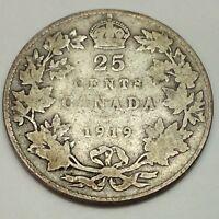 1919 Canada 25 Twenty Five Cents Quarter Canadian Circulated Coin D950