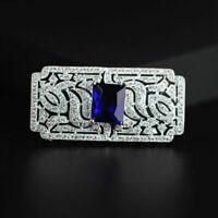 Broche Pin Rectangle Dentelle CZ Incrusté Bleu Marine Plaqué Or Mariage G8 14