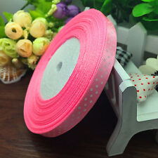 "NEW 10 yards 3/8"" ribbon (10 mm) lot print dots satin Fashion ribbon Pink"