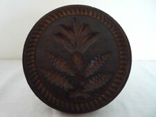 LARGE 4 3/4 INCH CARVED BUTTER PRINT BUTTER STAMP BUTTER MOLD TREEN KITCHENALIA