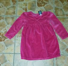 Faded Glory Baby Girls Dress Size 4T Pink Silver Velour worn 1x