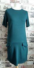 Almacén Verde Oscuro equipada Vestido lápiz manga corta bolsillos frontales Talla 10 Reino Unido