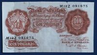 "1950 British Bank of England 10 shilling Banknote Beale Prefix ""M12Z"" [17868]"