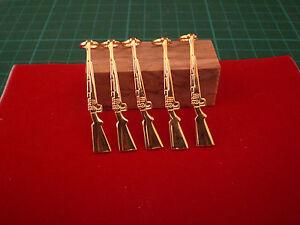 1, Pack of 5 Slimline Pen Fancy Rifle Clips in Gold