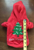 Dog Christmas Tree Fleece Holiday Coat Sz S Pet Costume Clothes Red, Green, VGUC