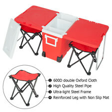 Outdoor Picnic Foldable Multi-function Rolling Cooler Upgraded Stool w/2 Stools