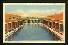 Louisiana LA postcard Baton Rouge, State University Swimming Pool linen Teich