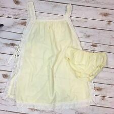 Vtg 60s Tempo Lingerie Womens Yellow Side-Tie Babydoll Teddy & Panties Medium