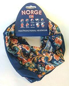 "Multipurpose Headwear Norwegian ""Dark Rosemaling"" design Flaaronning"