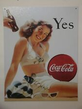 "Vintage Style ""Yes Coca-Cola"" Metal Sign Man Cave Garage Office Decor S47"