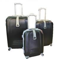 Set di 3 valigie nero con struttura rigida trolley valigie bagaglio a mano